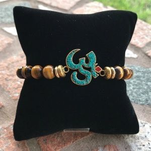 Silverskylight Jewelry - Genuine tiger eye turquoise om sign bead bracelet